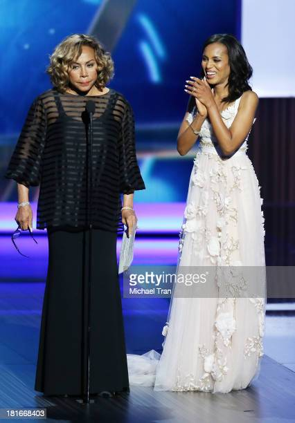 Actresses Diahann Carroll and Kerry Washington speak onstage during the 65th Annual Primetime Emmy Awards held at Nokia Theatre LA Live on September...