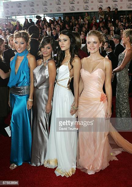 Actresses Dichen Lachman Caitlin Stasey Natalie Blair and Pippa Black pose as they arrive for the 2006 TV Week Logie Awards at the Crown...
