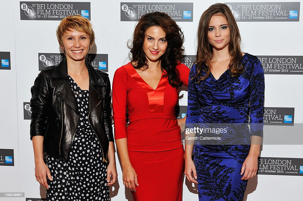 Actresses Dinara Drukarova, Lucia Siposova and Gabriela Marcinkova pose at the '360' photocall during the 55th BFI London Film Festival at Vue Leicester Square on October 12, 2011 in London, England.