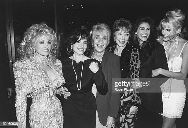 Actresses Dolly Parton Sally Field Olympia Dukakis Shirley MacLaine Julia Roberts and Daryl Hannah at the premiere of their motion picture Steel...