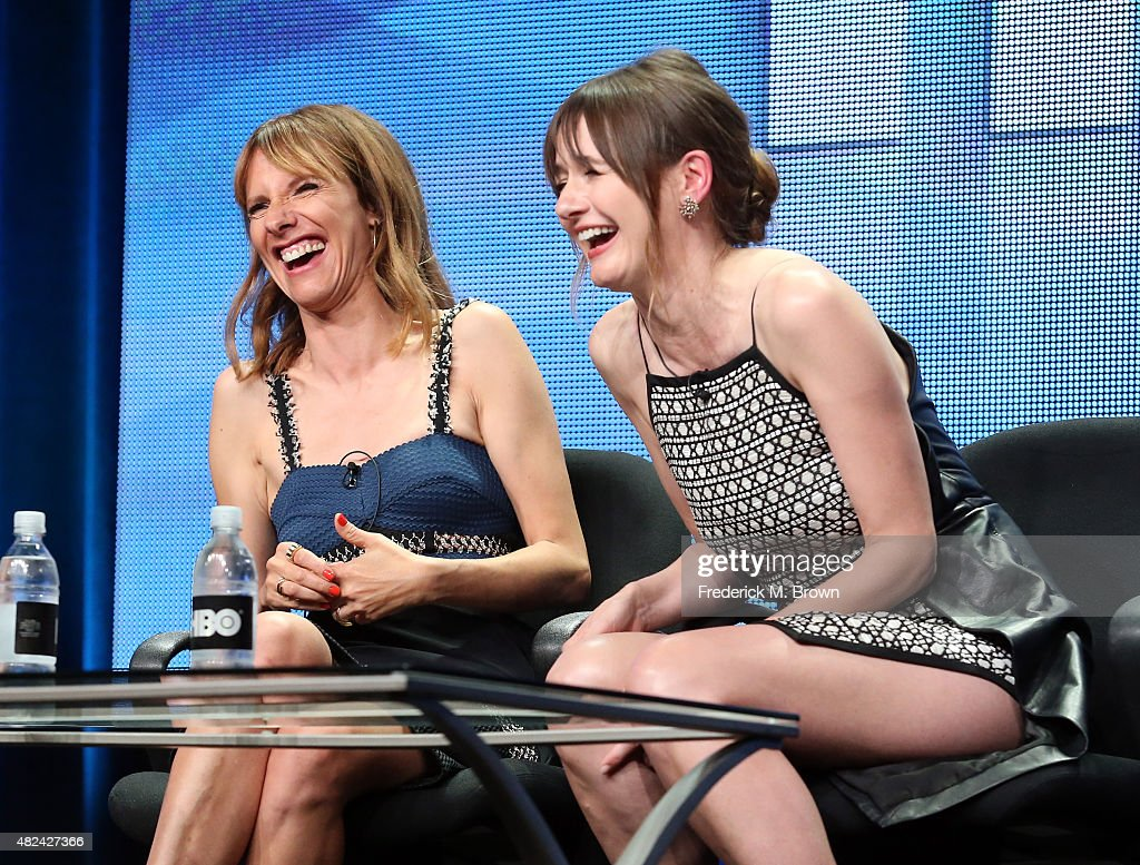 Actresses Dolly Wells (L) and Emily Mortimer speak onstage during the 'Doll & Em' panel discussion at the HBO portion of the 2015 Summer TCA Tour at The Beverly Hilton Hotel on July 30, 2015 in Beverly Hills, California.