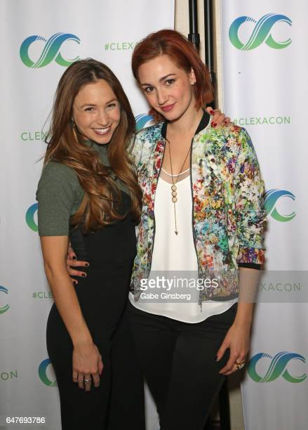 Actresses Dominique ProvostChalkley and Katherine Barrell attend ClexaCon 2017 convention at Bally's Las Vegas on March 3 2017 in Las Vegas Nevada