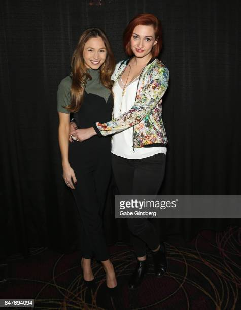 Actresses Dominique ProvostChalkley and Katherine Barrell attend 'The WayHaught Women of Wynonna Earp' panel during ClexaCon 2017 convention at...
