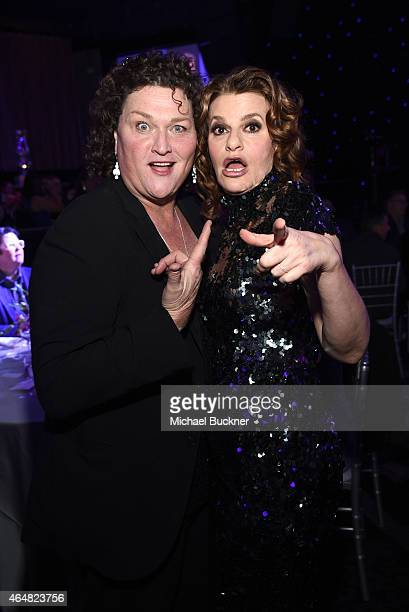Actresses DotMarie Jones and Sandra Bernhard attend the Family Equality Council's 2015 Los Angeles Awards dinner at The Beverly Hilton Hotel on...