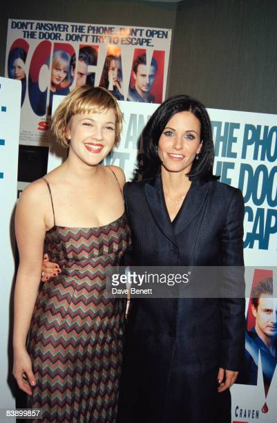 Actresses Drew Barrymore and Courteney Cox attend the premiere of 'Scream' at the Chelsea Cinema in London 24th April 1997
