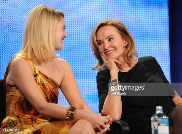 Actresses Drew Barrymore and Jessica Lange speak during HBO's 2009 Winter Television Critics Association Press Tour held at the Universal Hilton...