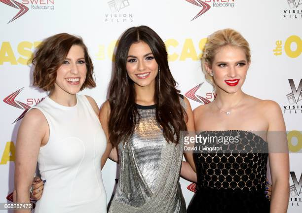 Actresses Eden Sher Victoria Justice and Claudia Lee attend the premiere of Swen Group's 'The Outcasts' at Landmark Regent on April 13 2017 in Los...