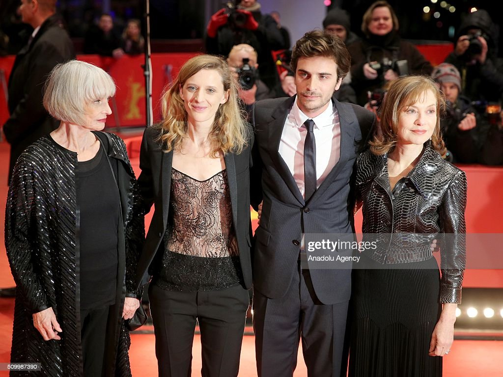 Actresses Edith Scob (L) and Isabelle Huppert (R), Director Mia Hansen-Love (L-2) and Actor Roman Kolinka (R-2) attend the 'Things to Come' (L'avenir) premiere during the 66th Berlinale International Film Festival Berlin at Berlinale Palace on February 13, 2016 in Berlin, Germany.