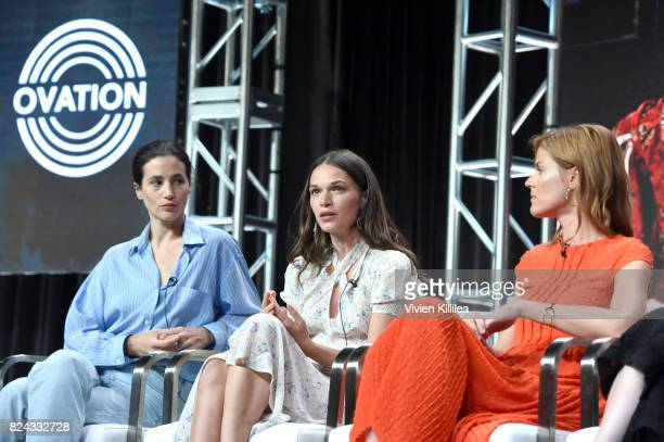 Actresses Elisa Lasowski and Anna Brewster and producer Aude Albano speak at Ovation Celebrates the Women of 'Versailles' At Summer TCA Tour at The...