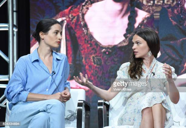 Actresses Elisa Lasowski and Anna Brewster speak at Ovation Celebrates the Women of 'Versailles' At Summer TCA Tour at The Beverly Hilton Hotel on...