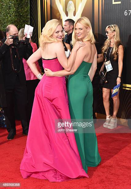 Actresses Elisabeth Moss and January Jones attend the 67th Annual Primetime Emmy Awards at Microsoft Theater on September 20 2015 in Los Angeles...
