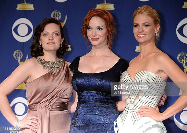 Actresses Elisabeth Moss Christina Hendricks and January Jones pose in the press room at the 61st Primetime Emmy Awards held at the Nokia Theatre on...