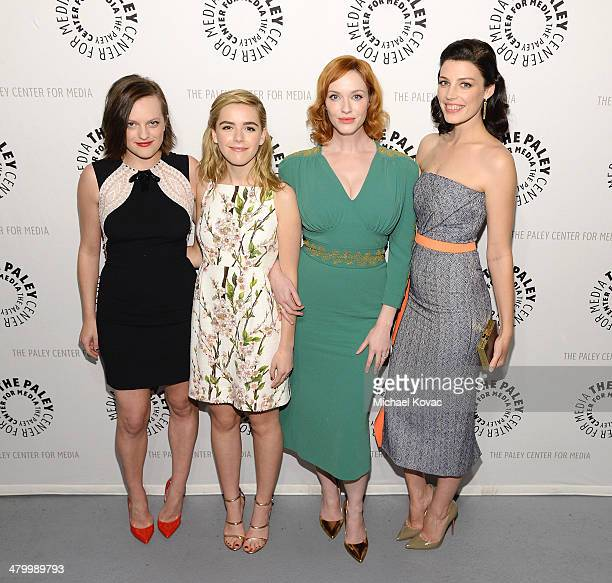 Actresses Elisabeth Moss Kiernan Shipka Christina Hendricks and Jessica Pare attend The Paley Center For Media's PaleyFest 2014 Honoring 'Mad Men' on...