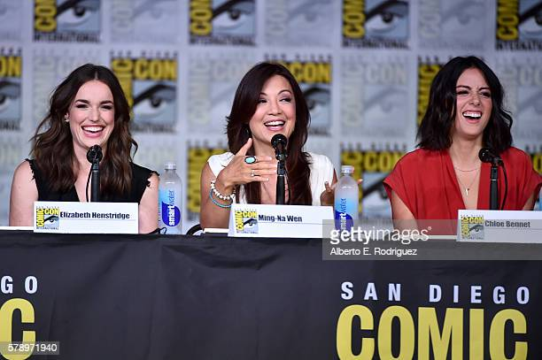 Actresses Elizabeth Henstridge MingNa Wen and Chloe Bennet attend the 'Marvel's Agents of SHIELD' panel during ComicCon International 2016 at San...