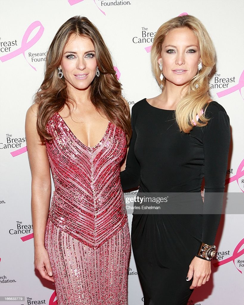 Actresses Elizabeth Hurley and Kate Hudson attend The Breast Cancer Research Foundation's 2013 Hot Pink Party at The Waldorf=Astoria on April 17, 2013 in New York City.