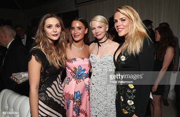 Actresses Elizabeth Olsen guest Michelle Williams and Busy Phillips attends Amazon Studios Golden Globes Celebration at The Beverly Hilton Hotel on...