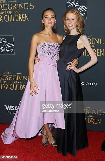 Actresses Ella Purnell and Lauren McCrostie attend the 'Miss Peregrine's Home For Peculiar Children' New York premiere at Saks Fifth Avenue on...