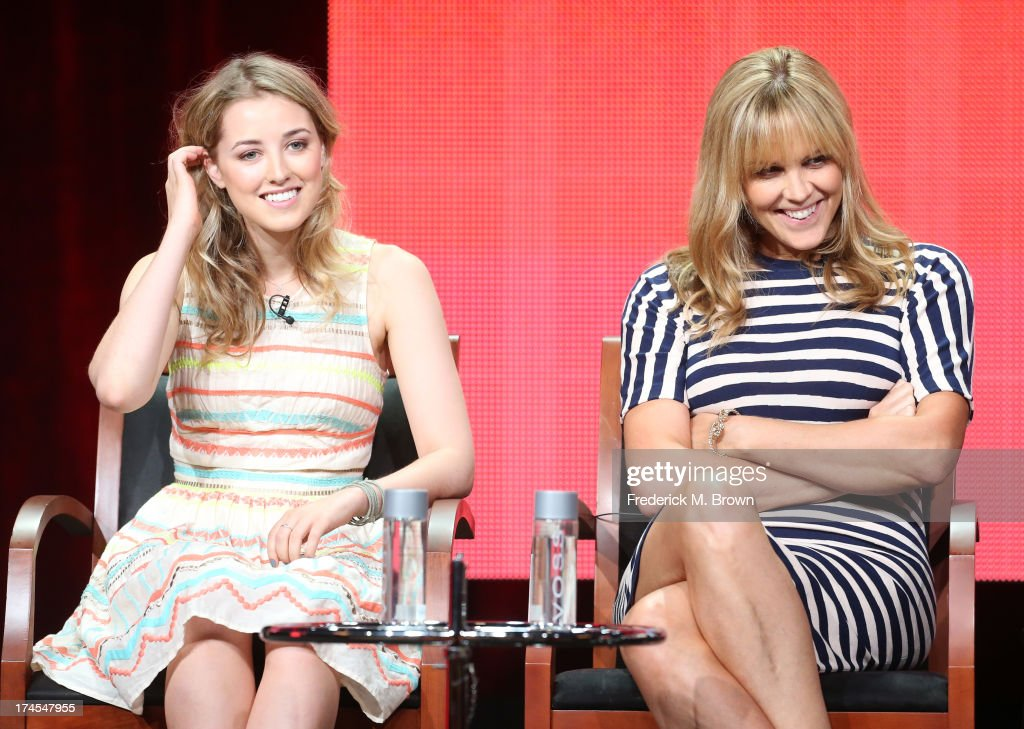 Actresses Ella Rae Peck and Mary McCormack speak onstage during the 'Welcome to the Family' panel discussion at the NBC portion of the 2013 Summer Television Critics Association tour - Day 4 at the Beverly Hilton Hotel on July 27, 2013 in Beverly Hills, California.