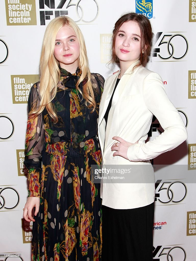 Actresses <a gi-track='captionPersonalityLinkClicked' href=/galleries/search?phrase=Elle+Fanning&family=editorial&specificpeople=2189940 ng-click='$event.stopPropagation()'>Elle Fanning</a> and Alice Englert attend the 'Ginger And Rosa' premiere during the 50th New York Film Festival at Alice Tully Hall at Lincoln Center on October 8, 2012 in New York City.