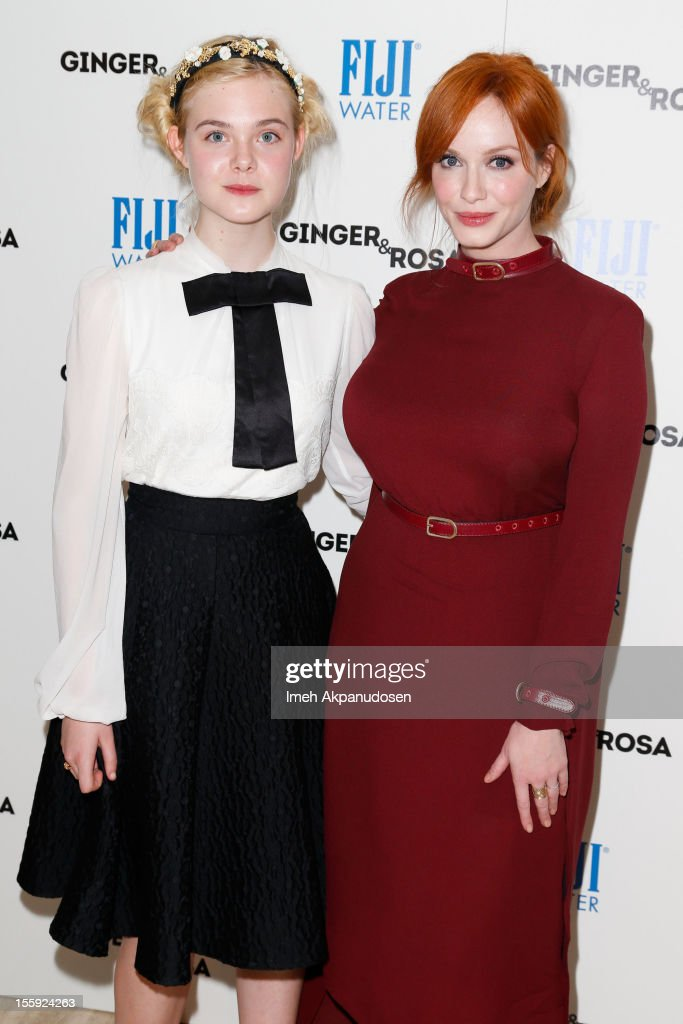 Actresses <a gi-track='captionPersonalityLinkClicked' href=/galleries/search?phrase=Elle+Fanning&family=editorial&specificpeople=2189940 ng-click='$event.stopPropagation()'>Elle Fanning</a> (L) and <a gi-track='captionPersonalityLinkClicked' href=/galleries/search?phrase=Christina+Hendricks&family=editorial&specificpeople=2239736 ng-click='$event.stopPropagation()'>Christina Hendricks</a> attend the screening of A24 Films' 'Ginger & Rosa' at The Paley Center for Media on November 8, 2012 in Beverly Hills, California.