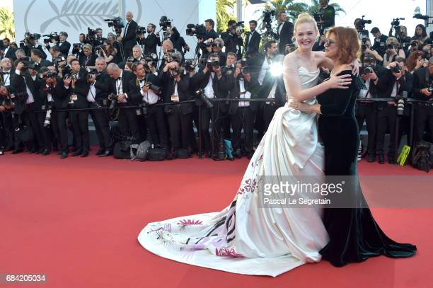 Actresses Elle Fanning and Susan Sarandon attend the 'Ismael's Ghosts ' screening and Opening Gala during the 70th annual Cannes Film Festival at...
