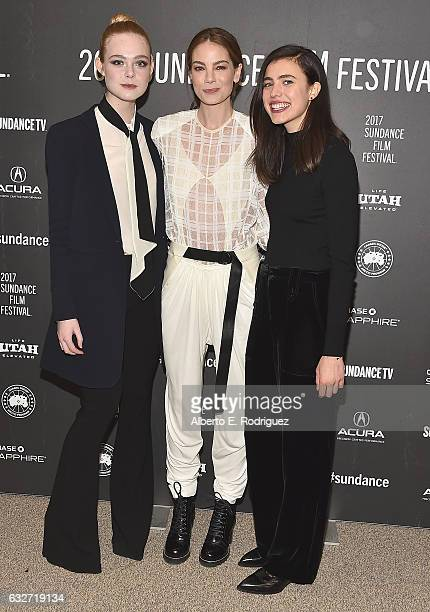 Actresses Elle Fanning Michelle Monaghan and Margaret Qualley attend the 'Sidney Hall' Premiere 2017 Sundance Film Festival at Eccles Center Theatre...