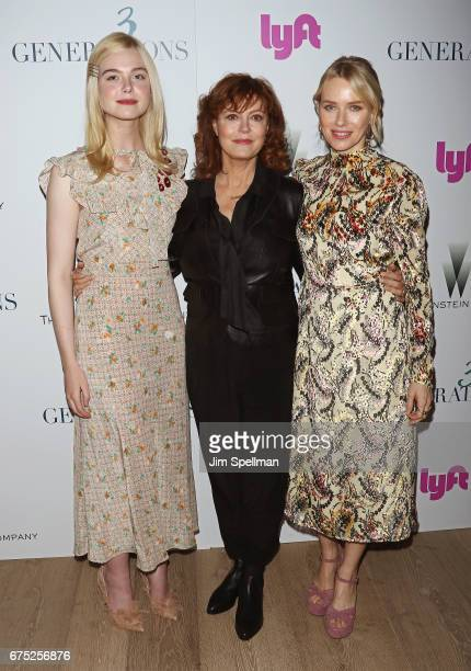 Actresses Elle Fanning Susan Sarandon and Naomi Watts attend the screening of '3 Generations' hosted by The Weinstein Company at the Whitby Hotel on...