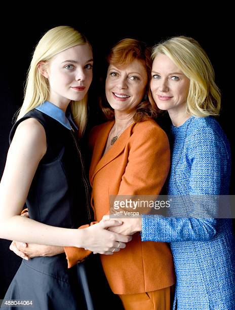 Actresses Elle Fanning Susan Sarandon and Naomi Watts from 'About Ray' poses for a portrait during the 2015 Toronto International Film Festival at...