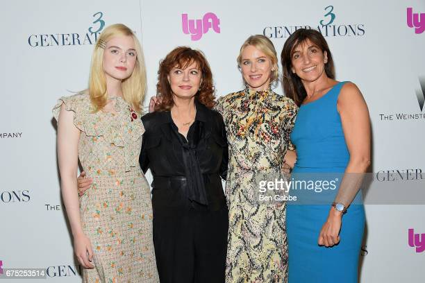 Actresses Elle Fanning Susan Sarandon Naomi Watts and director Gaby Dellal attend a special screening of '3 Generations' hosted by The Weinstein...