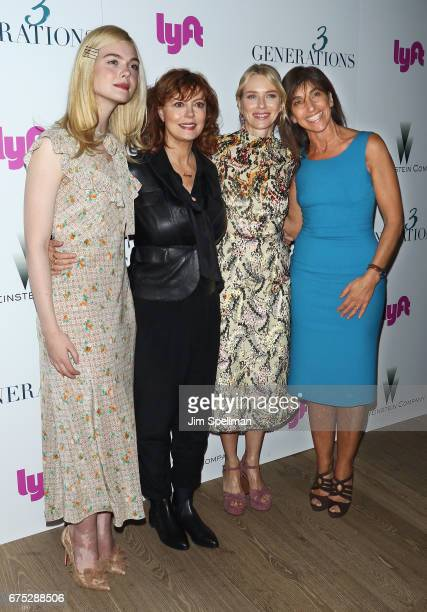 Actresses Elle Fanning Susan Sarandon Naomi Watts and director Gaby Dellal attend the screening of '3 Generations' hosted by The Weinstein Company at...