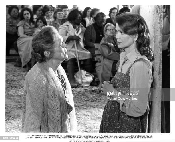 Actresses Ellen Burstyn and Eva Le Gallienne on set of the Universal Studio movie 'Resurrection' in 1980
