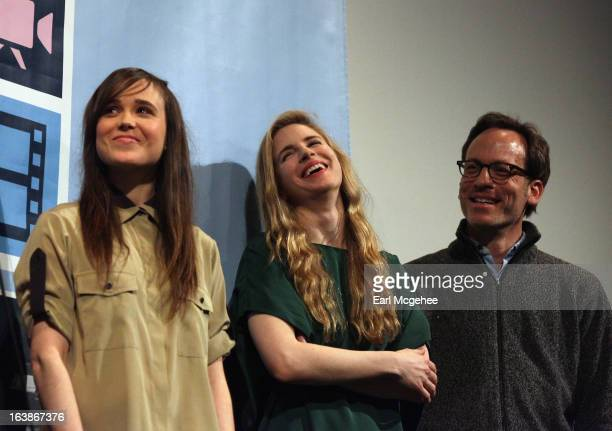 Actresses Ellen Page and Brit Marling and producer Michael Costigan speak onstage at 'The East' QA during the 2013 SXSW Music Film Interactive...