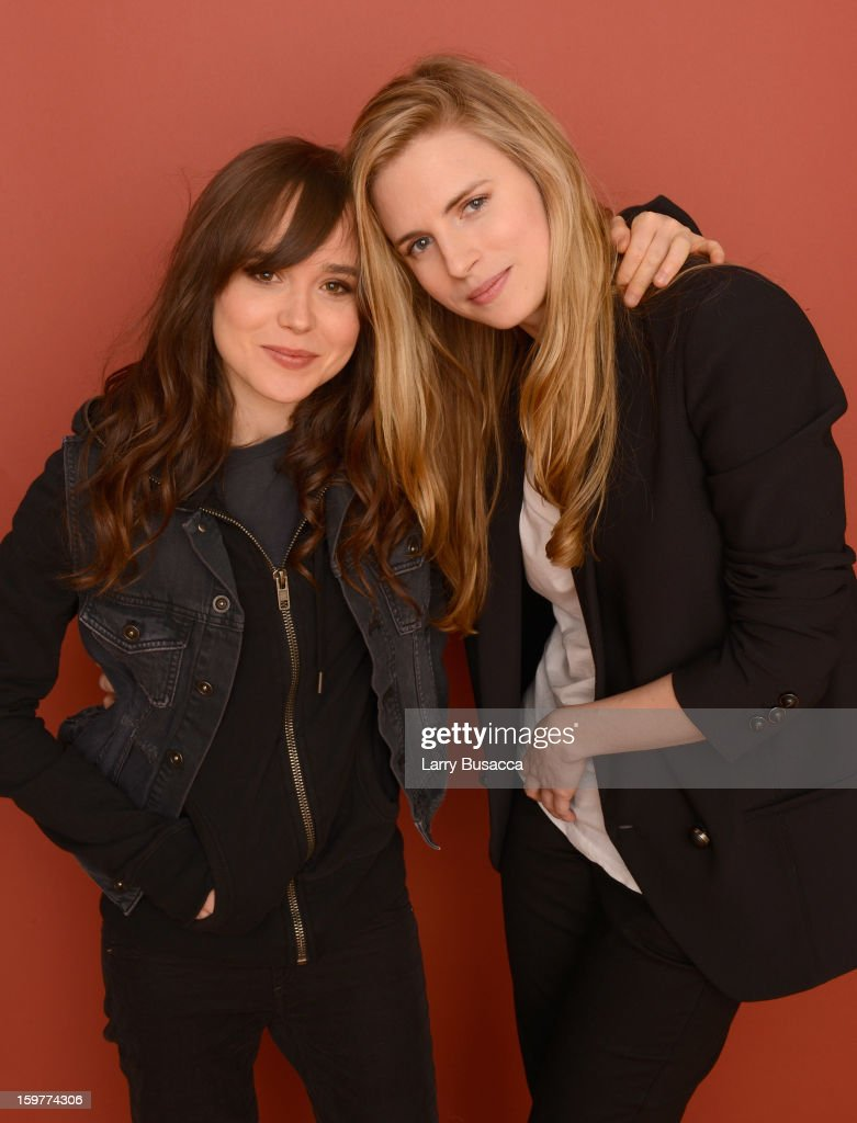 Actresses <a gi-track='captionPersonalityLinkClicked' href=/galleries/search?phrase=Ellen+Page&family=editorial&specificpeople=623049 ng-click='$event.stopPropagation()'>Ellen Page</a> (L) and <a gi-track='captionPersonalityLinkClicked' href=/galleries/search?phrase=Brit+Marling&family=editorial&specificpeople=701867 ng-click='$event.stopPropagation()'>Brit Marling</a> pose for a portrait during the 2013 Sundance Film Festival at the Getty Images Portrait Studio at Village at the Lift on January 20, 2013 in Park City, Utah.
