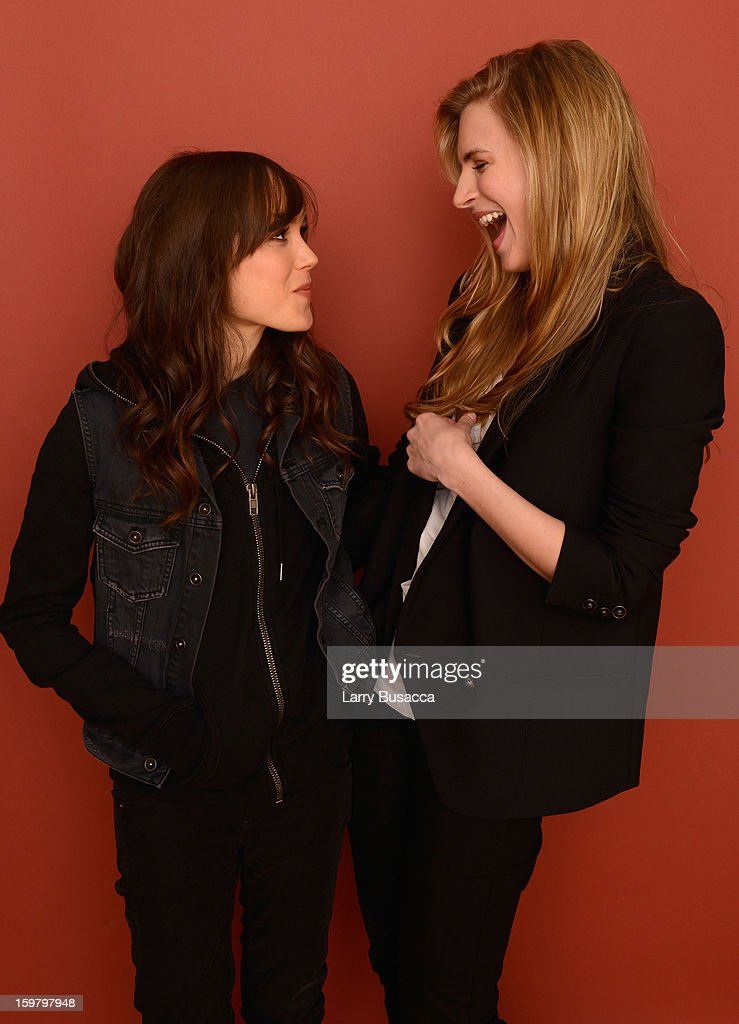 Actresses Ellen Page (L) and Brit Marling pose for a portrait during the 2013 Sundance Film Festival at the Getty Images Portrait Studio at Village at the Lift on January 20, 2013 in Park City, Utah.