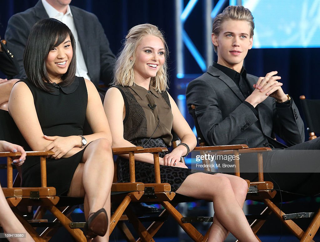 Actresses Ellen Wong, AnnaSophia Robb and actor Austin Butler of the television show 'The Carrie Diaries' speak during the CW Network portion of the 2013 Winter Television Critics Association Press Tour at the Langham Huntington Hotel & Spa on January 13, 2013 in Pasadena, California.