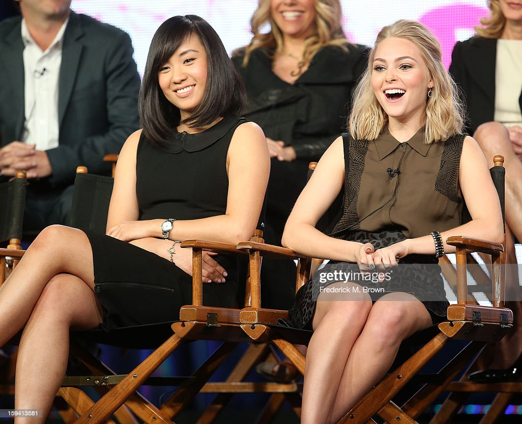 Actresses Ellen Wong of the television show 'The Carrie Diaries' speak during the CW Network portion of the 2013 Winter Television Critics Association Press Tour at the Langham Huntington Hotel & Spa on January 13, 2013 in Pasadena, California.