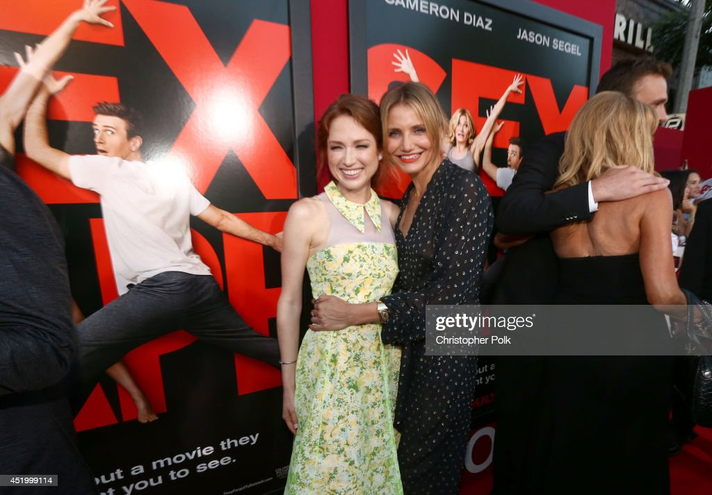 Actresses <a gi-track='captionPersonalityLinkClicked' href=/galleries/search?phrase=Ellie+Kemper&family=editorial&specificpeople=6123842 ng-click='$event.stopPropagation()'>Ellie Kemper</a> (L) and <a gi-track='captionPersonalityLinkClicked' href=/galleries/search?phrase=Cameron+Diaz&family=editorial&specificpeople=201892 ng-click='$event.stopPropagation()'>Cameron Diaz</a> attend the premiere of Columbia Pictures' 'Sex Tape' at Regency Village Theatre on July 10, 2014 in Westwood, California.