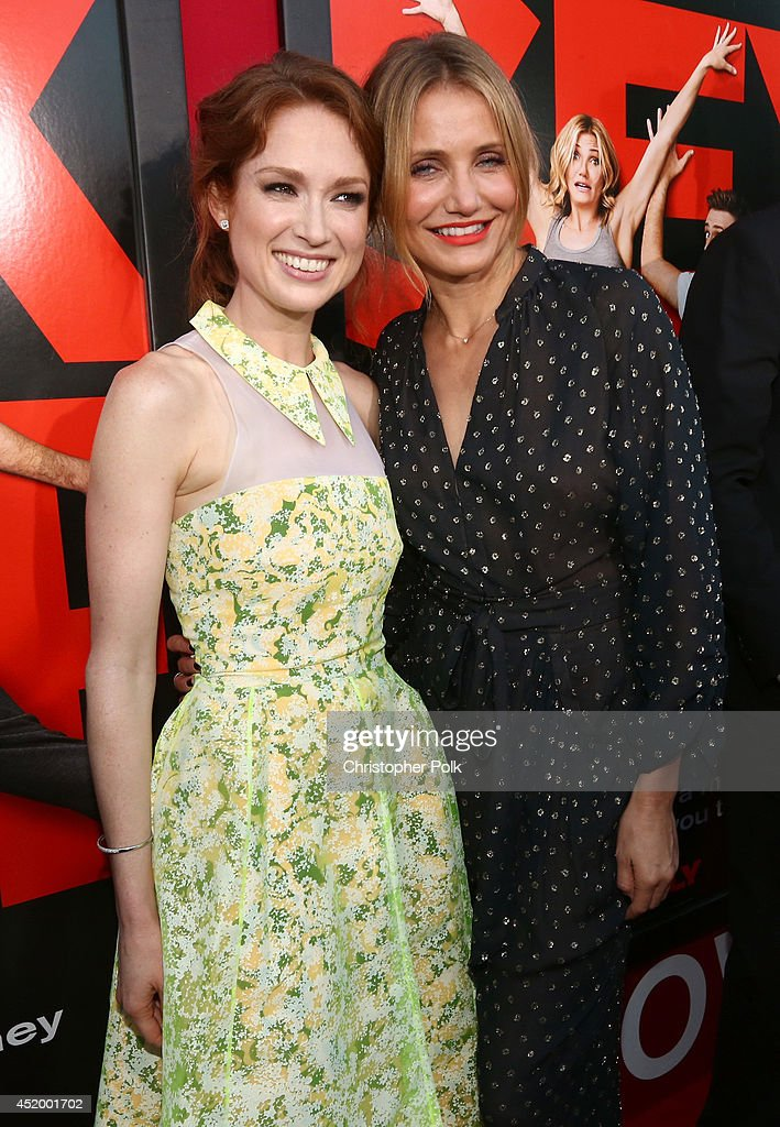 Actresses Ellie Kemper (L) and Cameron Diaz attend the premiere of Columbia Pictures' 'Sex Tape' at Regency Village Theatre on July 10, 2014 in Westwood, California.