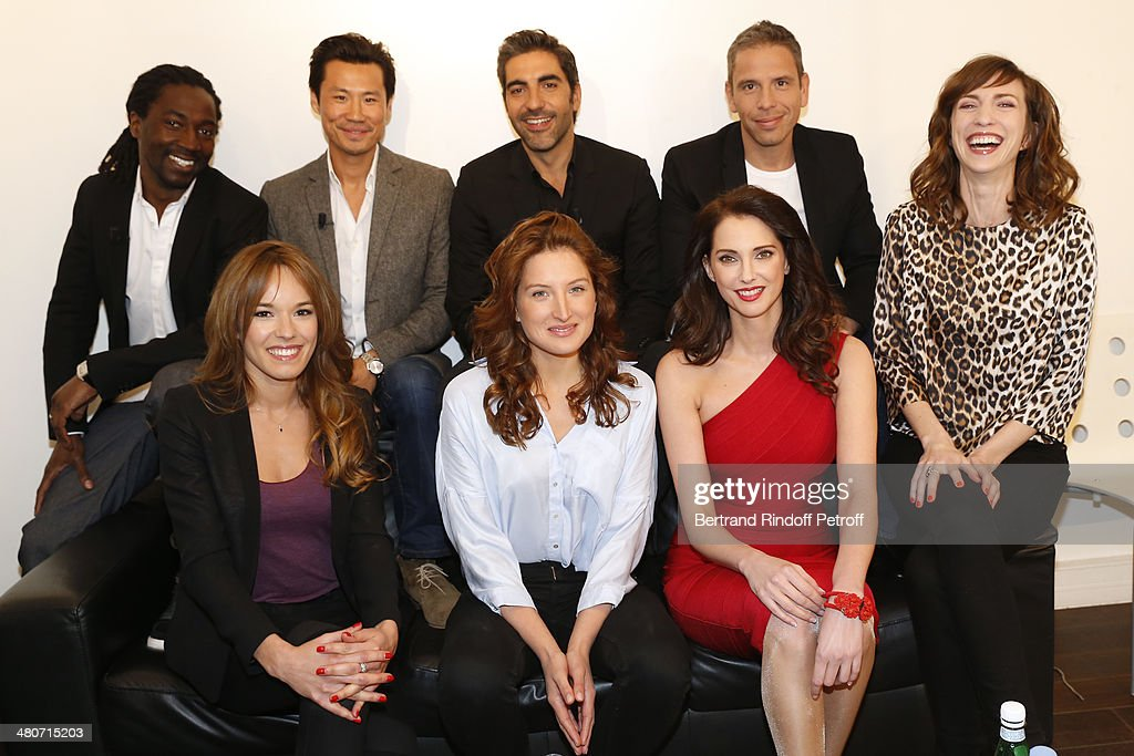 Actresses Elodie Fontan, Julia Piaton and Frederique Bel, and (L-R, back) actors Noon Diawara, Frederic Chau, humorist and actor Ary Abittan, actor Medi Sadoun and actress Emilie Caen pose backstage prior to the recording of television show host's Michel Drucker's 'Vivement Dimanche' weekly show at Pavillon Gabriel on March 26, 2014 in Paris, France.