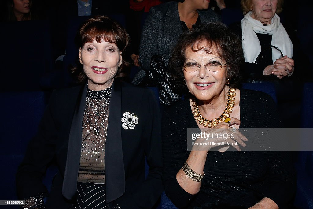Actresses <a gi-track='captionPersonalityLinkClicked' href=/galleries/search?phrase=Elsa+Martinelli&family=editorial&specificpeople=223923 ng-click='$event.stopPropagation()'>Elsa Martinelli</a> and <a gi-track='captionPersonalityLinkClicked' href=/galleries/search?phrase=Claudia+Cardinale&family=editorial&specificpeople=208838 ng-click='$event.stopPropagation()'>Claudia Cardinale</a> attend the Concert of singer Charles Aznavour at Palais des Sports on September 15, 2015 in Paris, France.