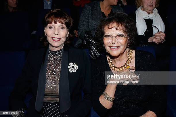 Actresses Elsa Martinelli and Claudia Cardinale attend the Concert of singer Charles Aznavour at Palais des Sports on September 15 2015 in Paris...