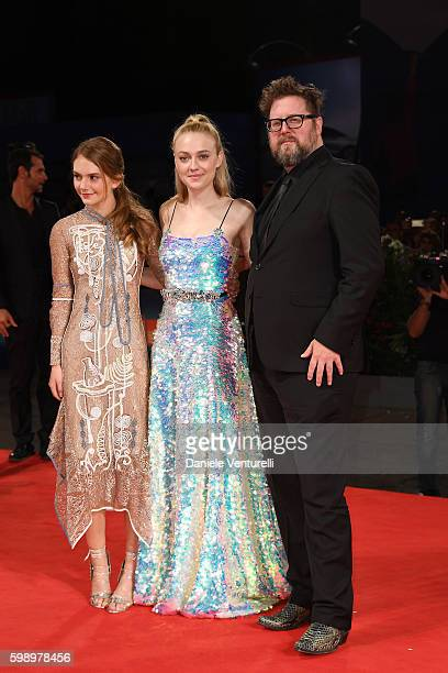 Actresses Emilia Jones Dakota Fanning and director Martin Koolhoven attend the premiere of 'Brimstone' during the 73rd Venice Film Festival at Sala...