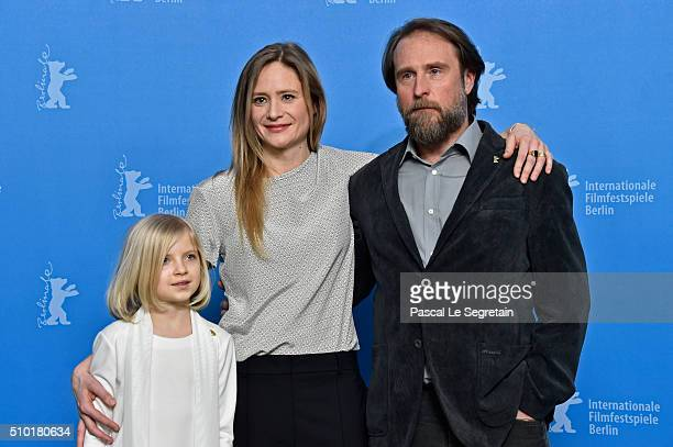 Actresses Emilia Pieske Julia Jentsch and actor Bjarne Maedel attend the '24 Wochen' photo call during the 66th Berlinale International Film Festival...