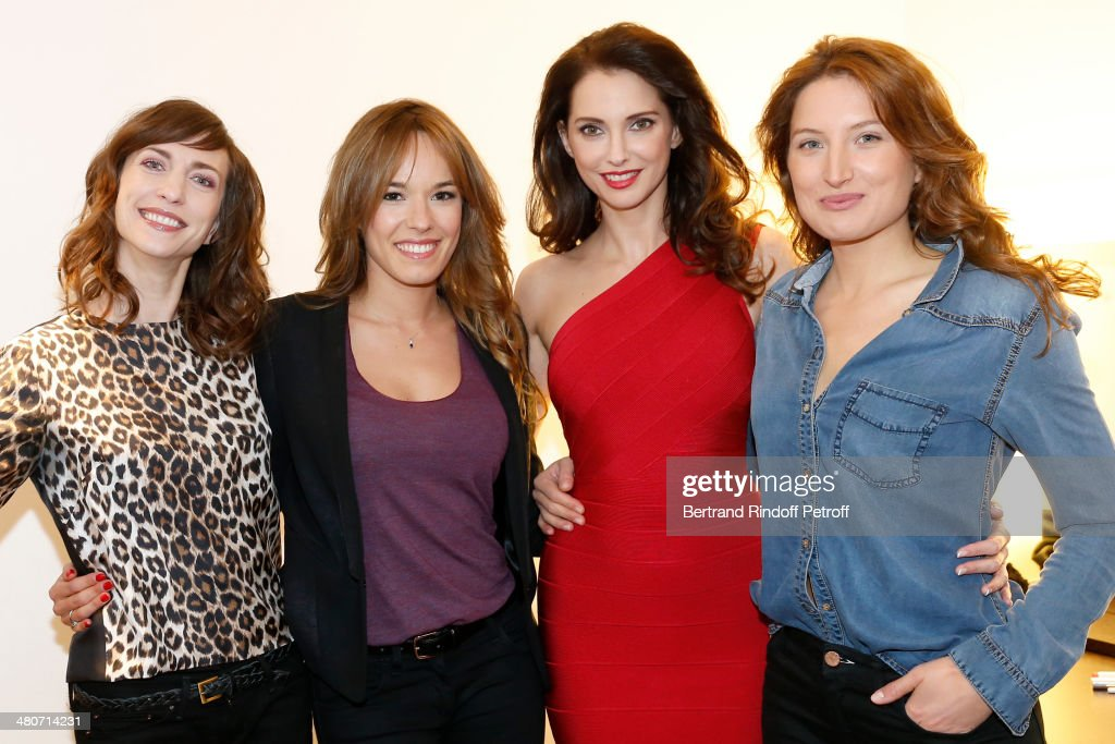 Actresses Emilie Caen, Elodie Fontan, <a gi-track='captionPersonalityLinkClicked' href=/galleries/search?phrase=Frederique+Bel&family=editorial&specificpeople=622597 ng-click='$event.stopPropagation()'>Frederique Bel</a> and Julia Piaton, who is the daughter of actress Charlotte de Charlotte de Turckheim, pose backstage prior to the recording of television show host's Michel Drucker's 'Vivement Dimanche' weekly show at Pavillon Gabriel on March 26, 2014 in Paris, France.