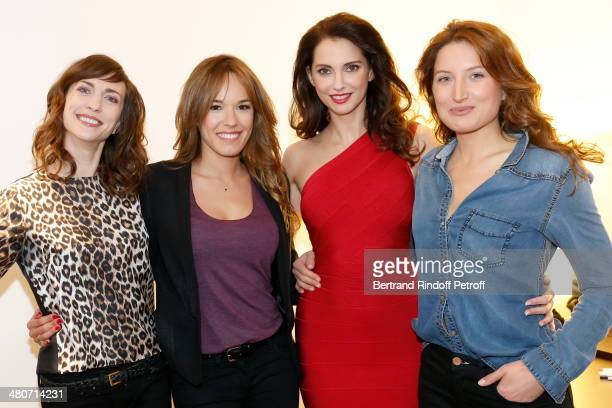 Actresses Emilie Caen Elodie Fontan Frederique Bel and Julia Piaton who is the daughter of actress Charlotte de Charlotte de Turckheim pose backstage...