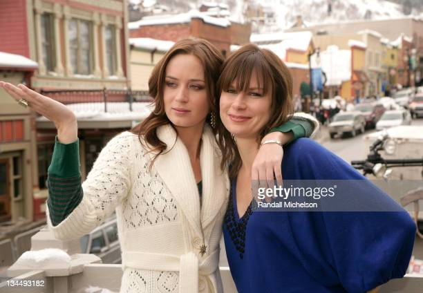 Actresses Emily Blunt and Mary Lynn Rajskub of 'Sunshine Cleaning' poses at the Sky 360 Delta Lounge during 2008 Sundance Film Festival on January 19...