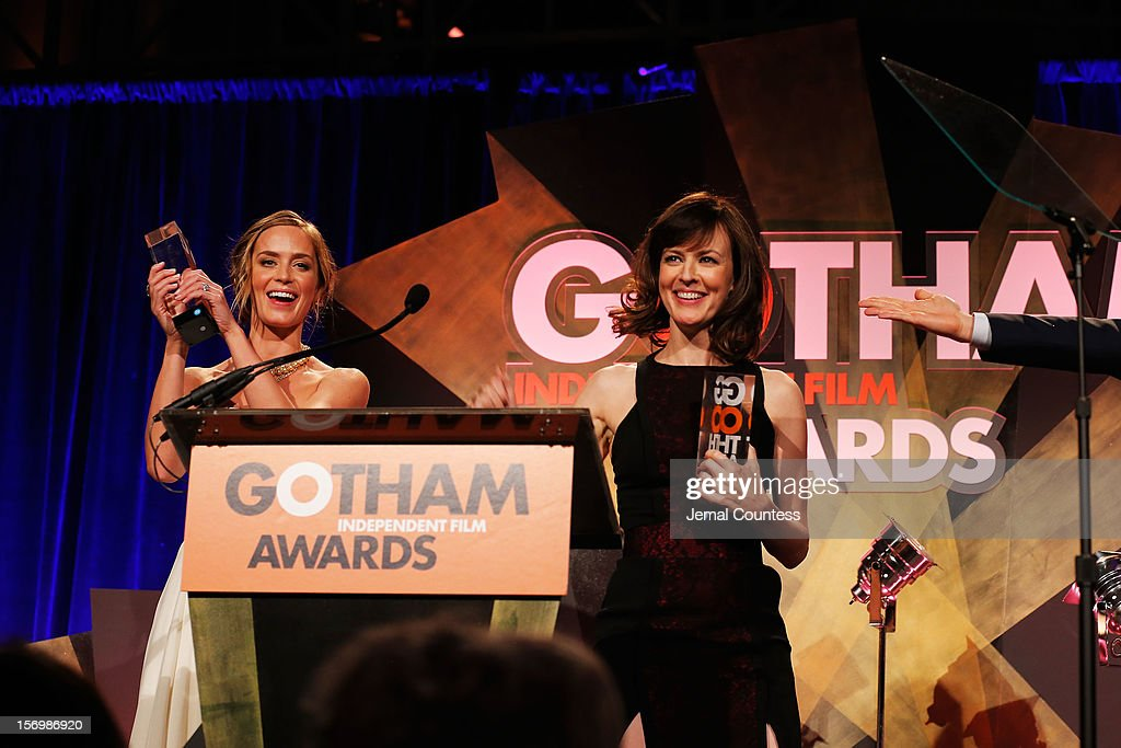 Actresses Emily Blunt (L) and Rosemarie DeWitt speak onstage at the IFP's 22nd Annual Gotham Independent Film Awards at Cipriani Wall Street on November 26, 2012 in New York City.