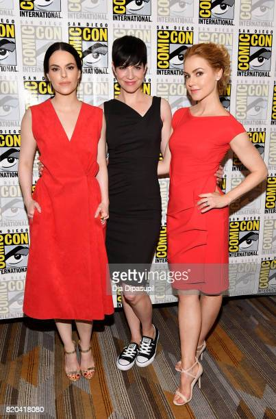 Actresses Emily Hampshire Alisen Down and Amanda Schull at the '12 Monkeys' press line during ComicCon International 2017 at Hilton Bayfront on July...