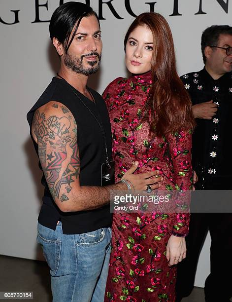Actresses Emily Tremaine and guest attend the Georgine fashion show during New York Fashion Week September 2016 at The Gallery Skylight at Clarkson...