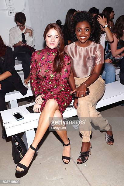 Actresses Emily Tremaine and Patina Miller attend the Georgine fashion show during New York Fashion Week September 2016 at The Gallery Skylight at...